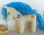 Earth Pony, Spirit Pony, Waldorf Toy, Stuffed Animal Horse, knitted horse, natural and eco friendly, handknit by Woolies on Etsy