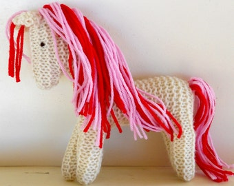 Pink Stuffed Animal, Earth pony Waldorf Toy Horse hand knit artisan plush wild pony friend