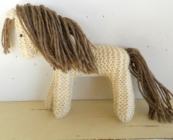 Earth Pony, Waldorf Toy, Stuffed Animal Horse, knitted horse, natural and eco friendly, Custom Knit for you in Colors of your Choice