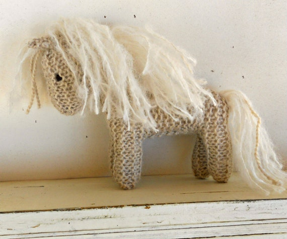 Earth Pony, Waldorf Toy, Stuffed Animal Horse, knitted horse, natural and eco friendly, handknit by Woolies on Etsy