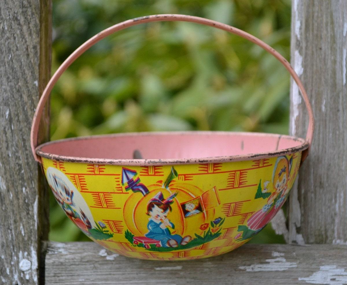 Vintage J Chein Tin Easter Basket With Nursery Rhyme