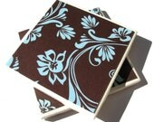 Blue and Brown Floral Coasters - Set of 4 (ltg026)