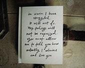 Screen printed Mr. Darcy Proposal notecard (1)