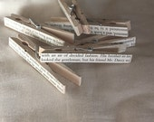 Pride and Prejudice text clothespins. set of 6