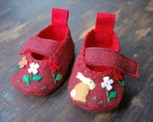 Forest Bunny Booties (cranberry)