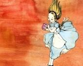 Orange Marmalade Alice in Wonderland Print Mixed Media Collage Painting 5x7