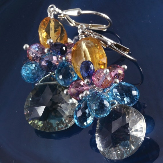 Green Amethyst Swiss Blue Topaz Citrine Pink  Blue Mystic Topaz Kyanite Earrings