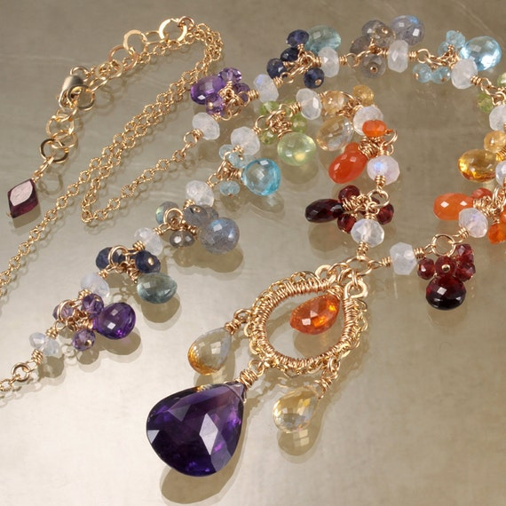 Amethyst Citrine Rainbow Necklace