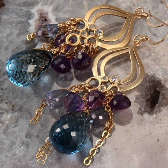 Blue Quartz Amethyst Chandelier Earrings