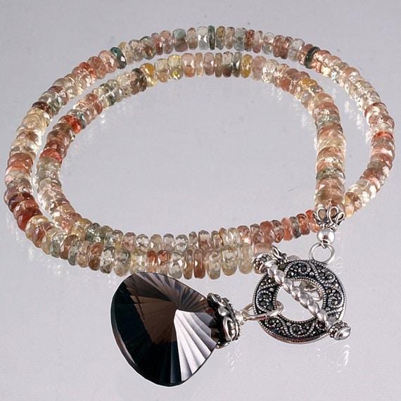 Oregon Sunstone Smokey Quartz Necklace