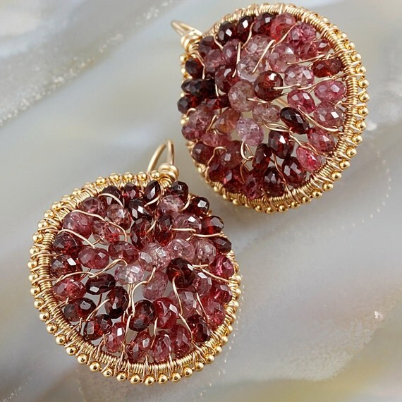 Reserved - Raspberry Pink Spinel Wire Wrapped Circle Earrings