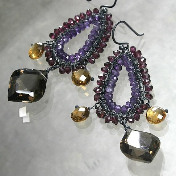 Clearance -  Smoky Quartz citrine rhodolite garnet amethyst chandelier earrings