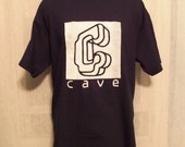 CAVE company t-shirt - Navy Blue with white ink - size Medium