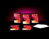 My Heart Flying...5 pack cards 4x5.5 with black or white envelopes