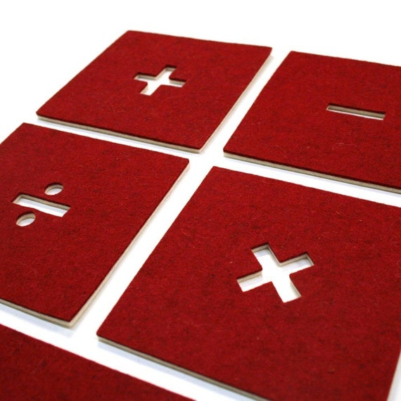 Math Signs Coaster Set - Red\/White