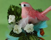 Corsage with Pink Chickadee with Orange,  Blue, and Green