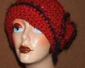 "Sweetheart  Handmade Crochet Cloche Hat ""Valentine Red"""