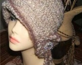 1920s Style Crochet Cloche Flapper Hat with  Flower Applique & Dangles (Pattern Only