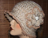 Crochet  ClocheHat Gold Fleck With Gold Accents  (Pdf Pattern File Only)