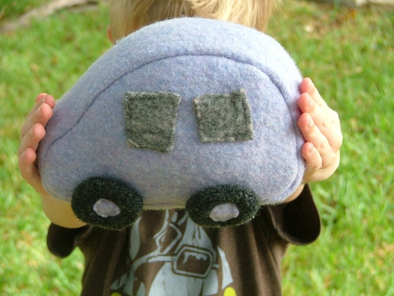 Felted Sweater Toy Car - Lavender - soft plush playful