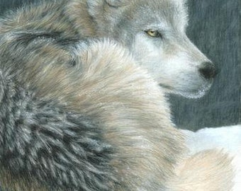Wolf Art COLD EVENING Original Artwork by Carla Kurt