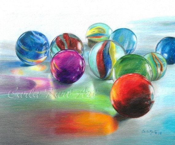 RED MARBLE REFLECTIONS Original Artwork by Carla Kurt great gift contemporary
