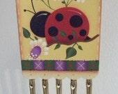 Handpainted hp Wood Hang Tag Windchimes Ladybug