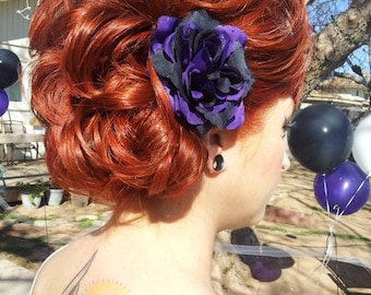 Dark Purple and Black Rose Hair Clip