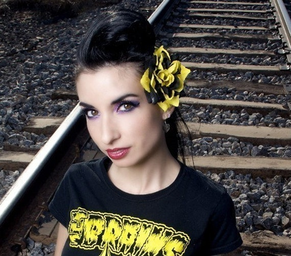 Bumble Black and Yellow Hair Flower Clip