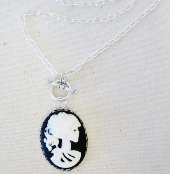 Black and White Lolita Skull Cameo Necklace