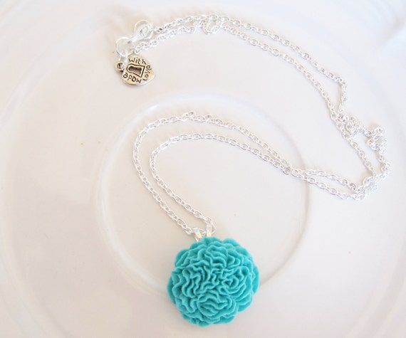 Aqua Pom Pom Flower Cabochon Necklace
