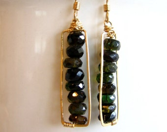 Faceted Black and Green all stacked up