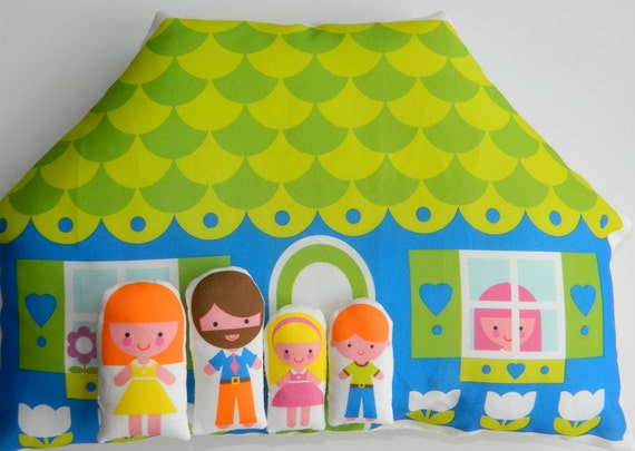 Dolls House Cushion and Family - Blue