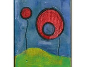 Original Mini Encaustic Painting , Red, its dark and we should go home