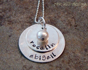 sterling silver stamped necklace-custom personalized jewelry-duo