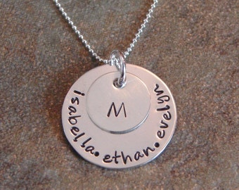 personalized stamped necklace-sterling silver custom jewelry-silver family circle