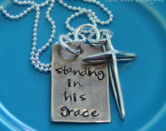 hand stamped necklace-custom personalized jewelry-grace necklace