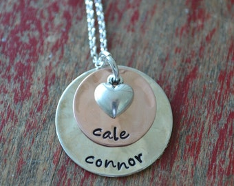 sterling silver and copper stamped mommy necklace-copper i heart mom