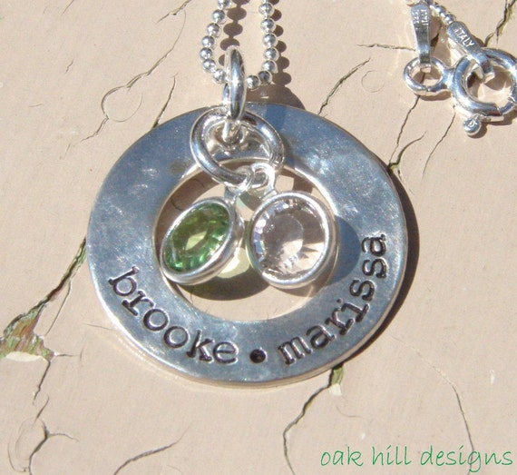 sterling silver hand stamped washer with kids names and crystals-family circle with crystals