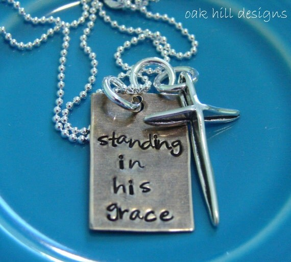 Hand stamped necklace custom personalized jewelry grace for How to make hand stamped jewelry