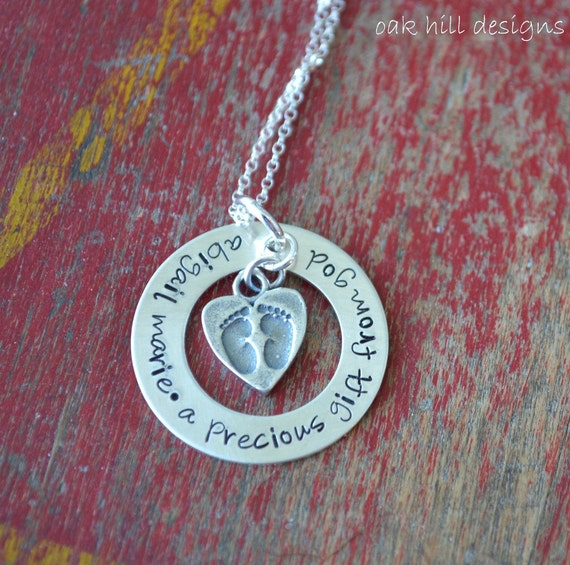 sterling silver jewelry, personalized mommy necklace, stamped-precious gift from god