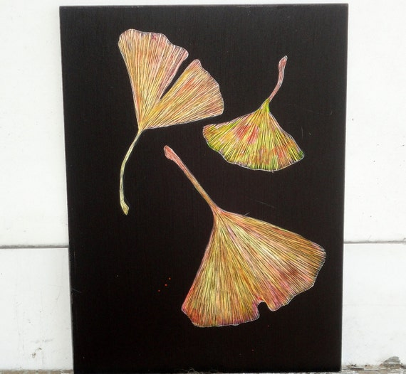Gingko Etching on Claybord One of a Kind