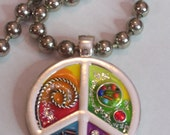 Funky neon  metal work peace sign necklace