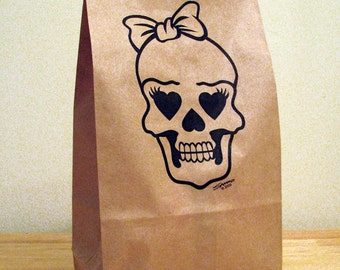 5 CUTE SKULL GIRL Party Bags,brown bags,paper bags,lunch bags,food storage,snack bag,gift bag,kids lunch,kraft paper bag,adult lunch