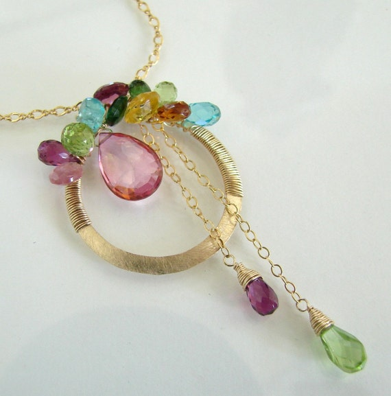 Color My World - Exquisite Multi Colored Gemstone Artisan Pendant, 14K Gold Filled Necklace