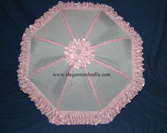34 Inch Pink Ribbon Lace Baby Shower Umbrella