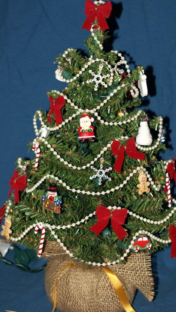Pre-lit tabletop Christmas tree by ElegantUmbrella on Etsy