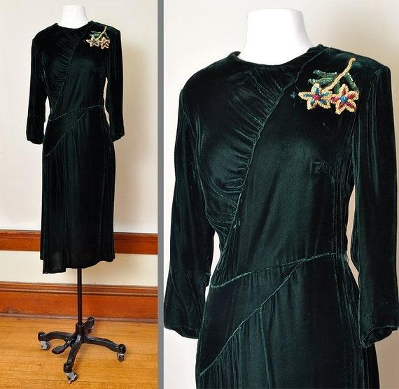 1940's Green Velvet Party Dress with Sequin Flower Applique