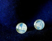 Chinese Postage Stamp Studs - Blue
