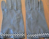 Vintage Milady Black Leather Gloves with Rhinestone Wrists 6.5